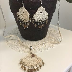 Natural Necklace and Earrings Set Handmade
